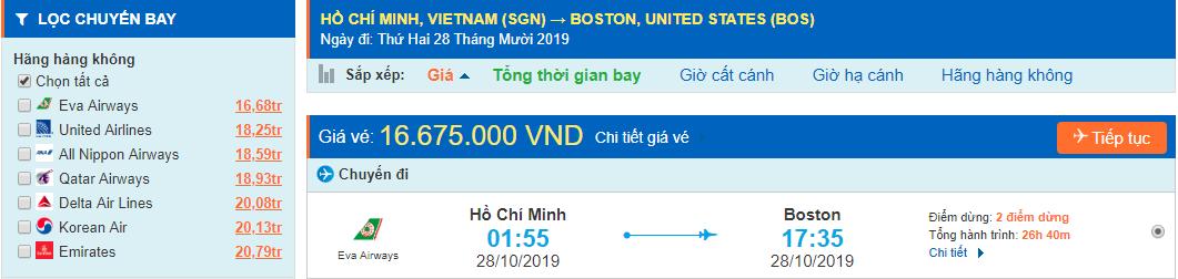 Vé máy bay đi Boston từ tp Hồ Chí Minh
