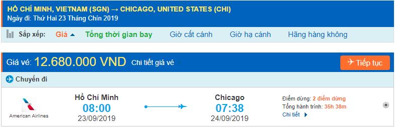 Vé máy bay đi Chicago từ Hồ Chí Minh