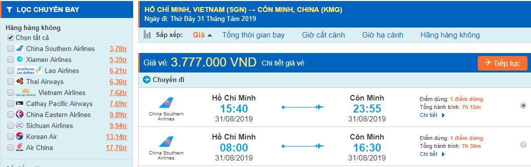 Vé máy bay đi Vân Nam Côn Minh từ Hồ Chí Minh