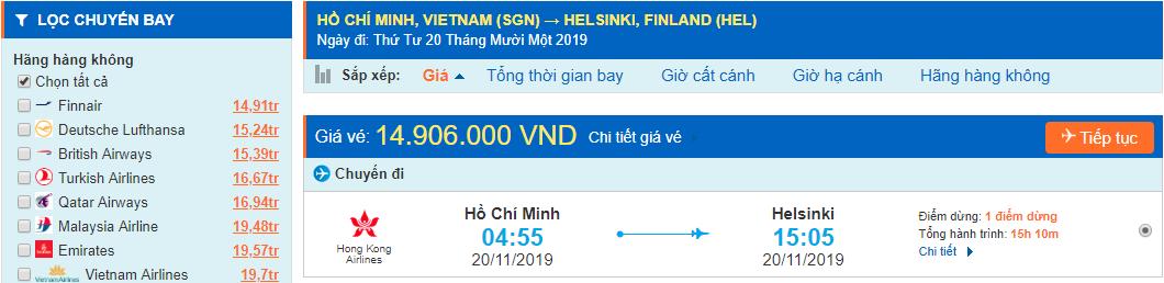 Vé máy bay đi Helsinki từ Hồ Chí Minh