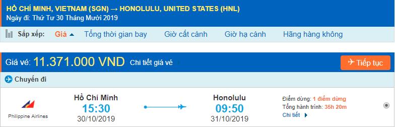 Vé máy bay đi Honolulu từ Hồ Chí Minh
