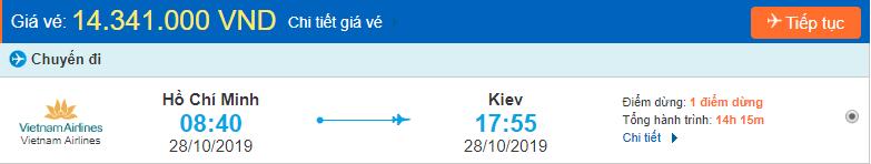 Vé máy bay đi Kiev từ tp Hồ Chí Minh