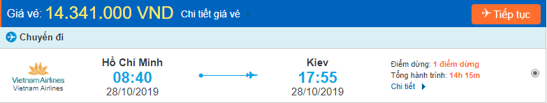 Vé máy bay đi Ukraine từ Hồ Chí Minh