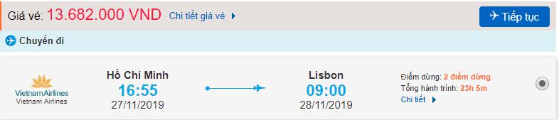 Vé máy bay đi Lisbon từ Hồ Chí Minh