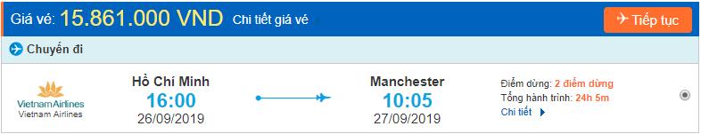 Vé máy bay đi Manchester từ Hồ Chí Minh