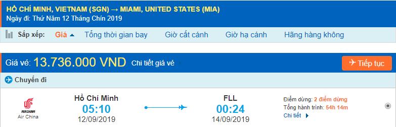 Vé máy bay đi Miami từ Hồ Chí Minh