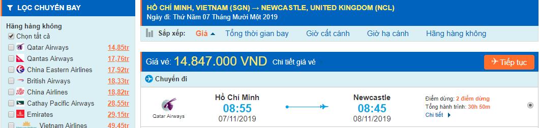 Vé máy bay đi Newcastle từ Hồ Chí Minh