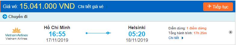 Vé máy bay đi Phần Lan từ Hồ Chí Minh
