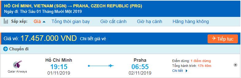 Vé máy bay đi Praha từ Hồ Chí Minh