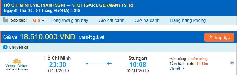 Vé máy bay đi Stuttgart từ Hồ Chí Minh