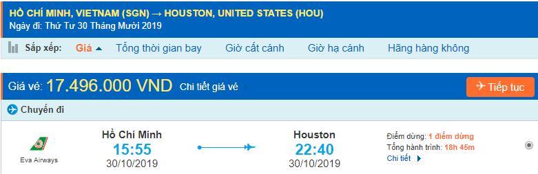Vé máy bay đi Mỹ Texas từ Hồ Chí Minh