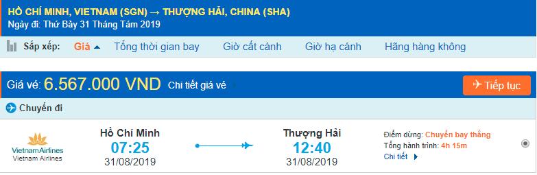 Vé máy bay đi Thượng Hải từ Hồ Chí Minh