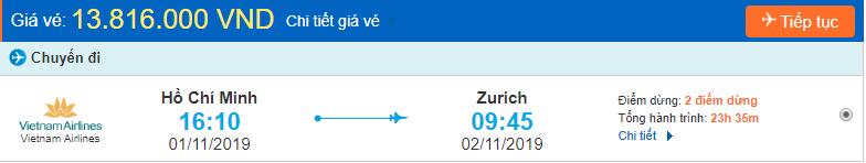 Vé máy bay đi Zurich từ Hồ Chí Minh