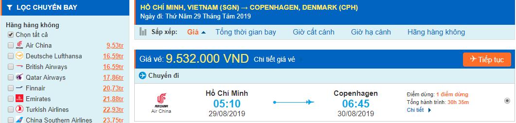Vé máy bay đi Copenhagen từ Hồ Chí Minh