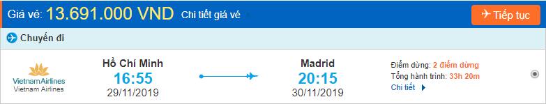 Vé máy bay đi Tây Ban Nha từ Hồ Chí Minh