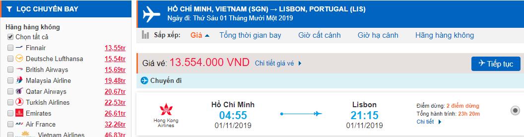 Vé máy bay đi Bồ Đào Nha từ Hồ Chí Minh