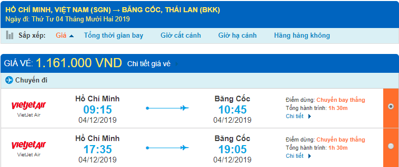 Vé máy bay đi Thái Lan Vietjet Air từ Hồ Chí Minh