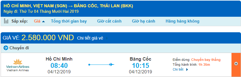 Vé máy bay đi Thái Lan của Vietnam Airlines từ Hồ Chí Minh