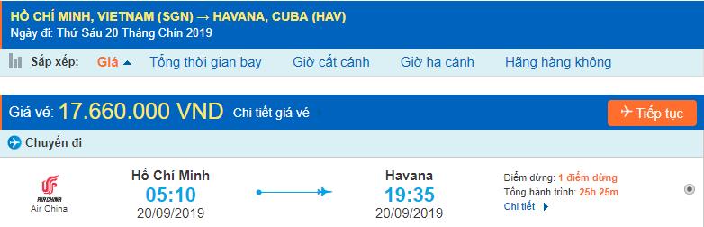 Giá vé máy bay đi Cuba từ Hồ Chí Minh