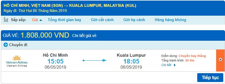 Giá vé máy bay đi Malaysia Vietnam Airlines từ Hồ Chí Minh