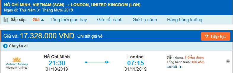 Vé máy bay đi Anh từ Hồ Chí Minh