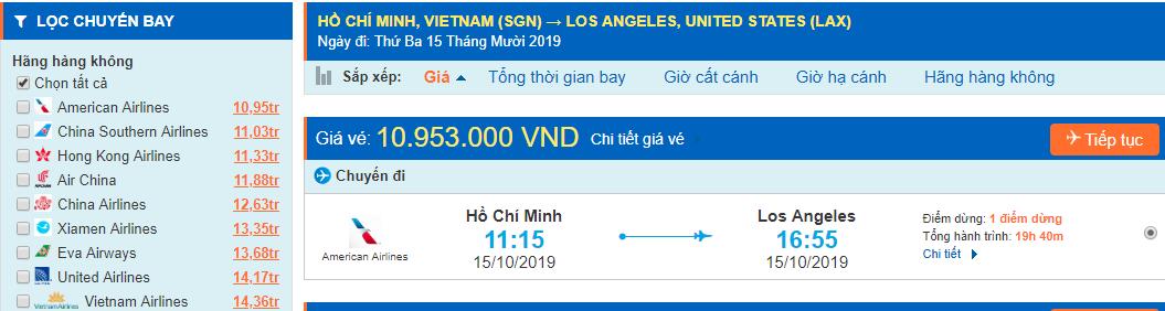 Vé máy bay đi Los Angeles từ Hồ Chí Minh