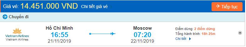 Vé máy bay đi Moscow từ Hồ Chí Minh