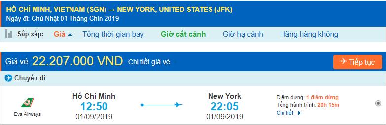 Vé máy bay đi New York từ Hồ Chí Minh
