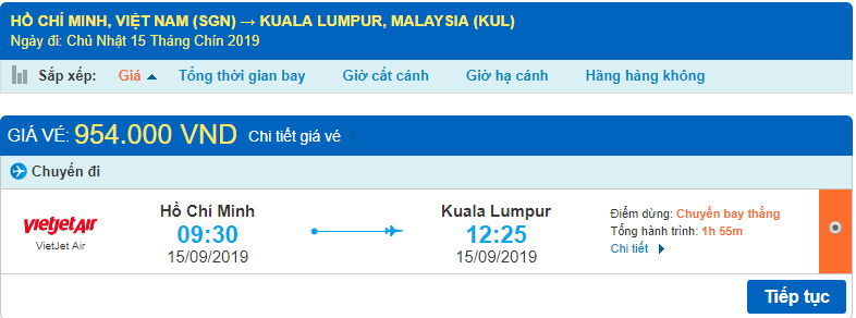 Giá vé máy bay đi Malaysia Vietjet Air