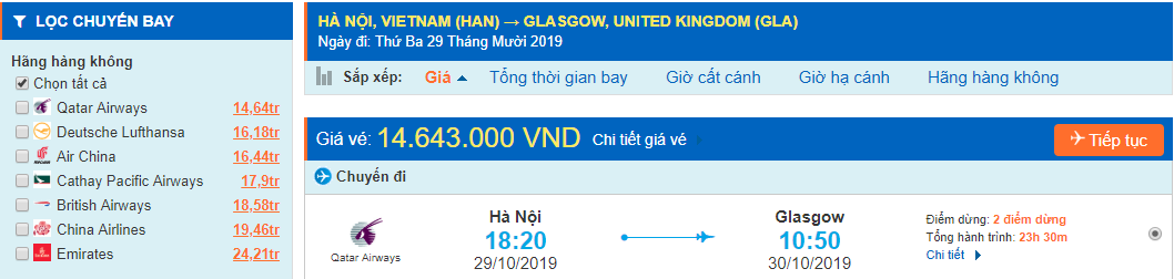 Vé máy bay đi Glasgow từ Hà Nội