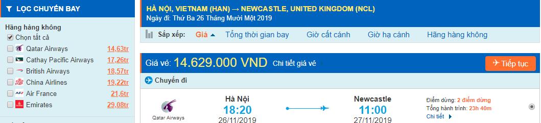Vé máy bay đi Newcastle từ Hà Nội