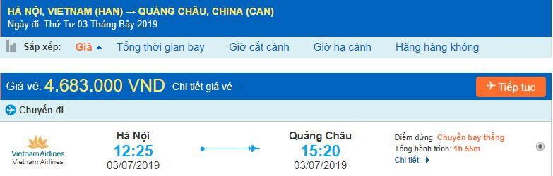 Vé máy đi Trung Quốc Quảng Châu từ Hà Nội