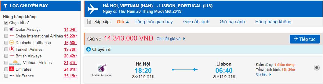 Vé máy bay đi Bồ Đào Nha từ Hà Nội