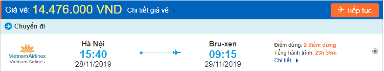 Vé máy bay đi Bỉ từ Hà Nội