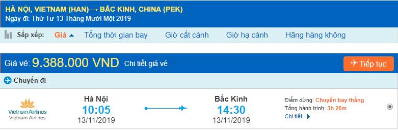Vémáy bay đi Bắc kinh từ Hà Nội