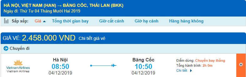 Vé máy bay đi Thái Lan của Vietnam Airlines từ Hà Nội