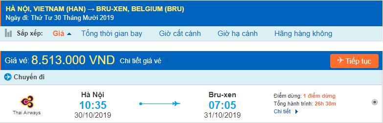 Vé máy bay đi Brussels từ Hà Nội