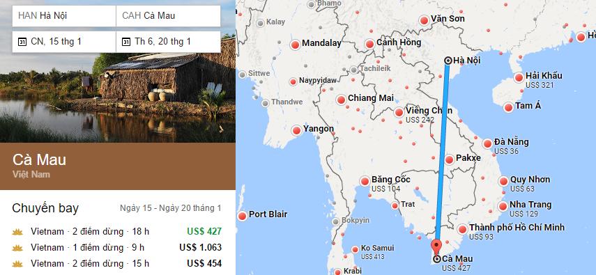 Tham khảo hành trình bay từ Hà Nội đến Cà Mau bằng vé máy bay đi Cà Mau