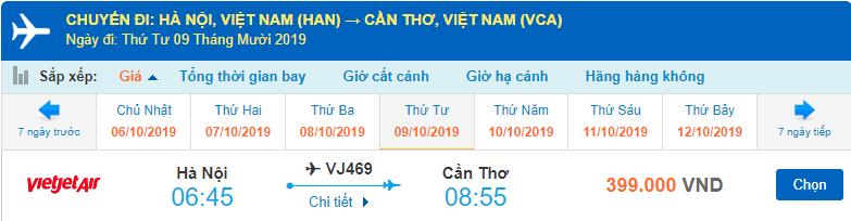 Giá vé máy bay Hà Nội Cần Thơ Vietjet Air