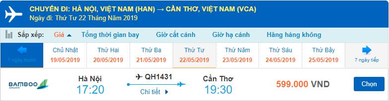 Vé máy bay đi Cần Thơ Hà Nội Bamboo Airways