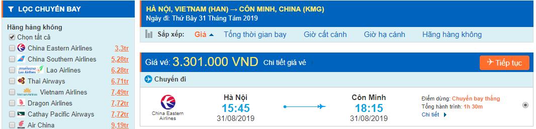 Vé máy bay đi Vân Nam Côn Minh từ Hà Nội
