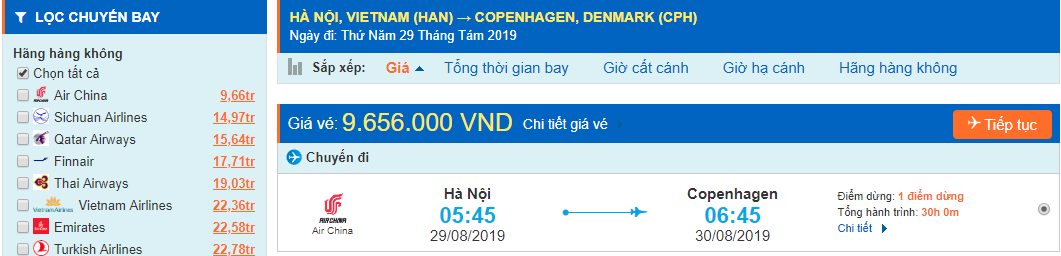 Vé máy bay đi Copenhagen từ Hà Nội