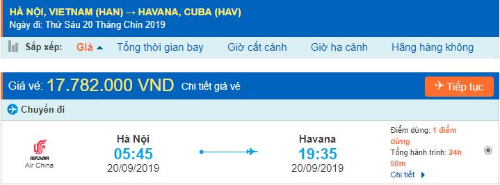 Giá vé máy bay đi Cuba từ Hà Nội