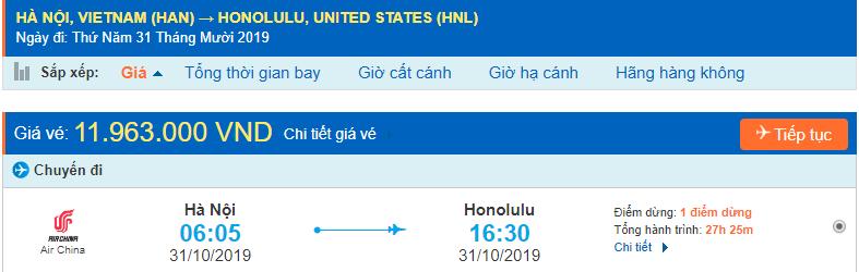 Vé máy bay đi Honolulu từ Hà Nội