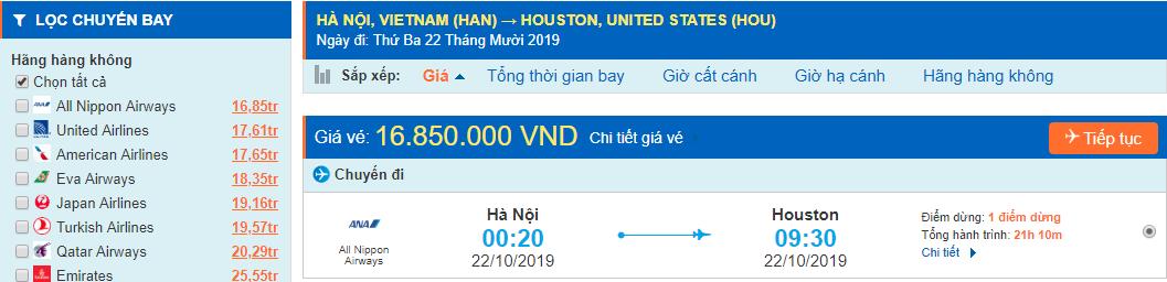 vé máy bay đi Houston từ Hà Nội