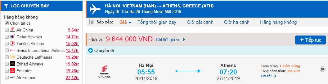 Vé máy bay đi Hy Lạp từ Hà Nội