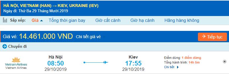 Vé máy bay đi Kiev từ Hà Nội