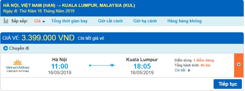 Giá vé máy bay đi Malaysia Vietnam Airlines từ Hà Nội