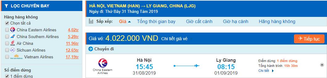 Vé máy bay đi Vân Nam Lệ Giang từ Hà Nội
