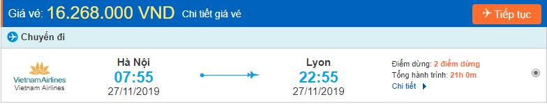 Vé máy bay đi Lyon từ Hà Nội